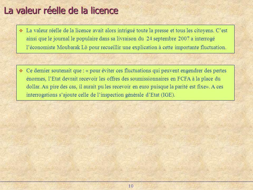 La valeur réelle de la licence