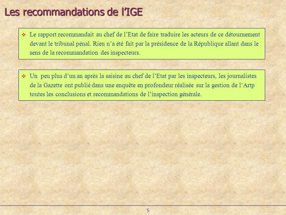 Les recommandations de l'IGE
