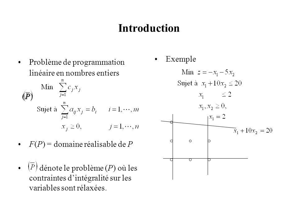 Introduction Problème de programmation linéaire en nombres entiers (P)