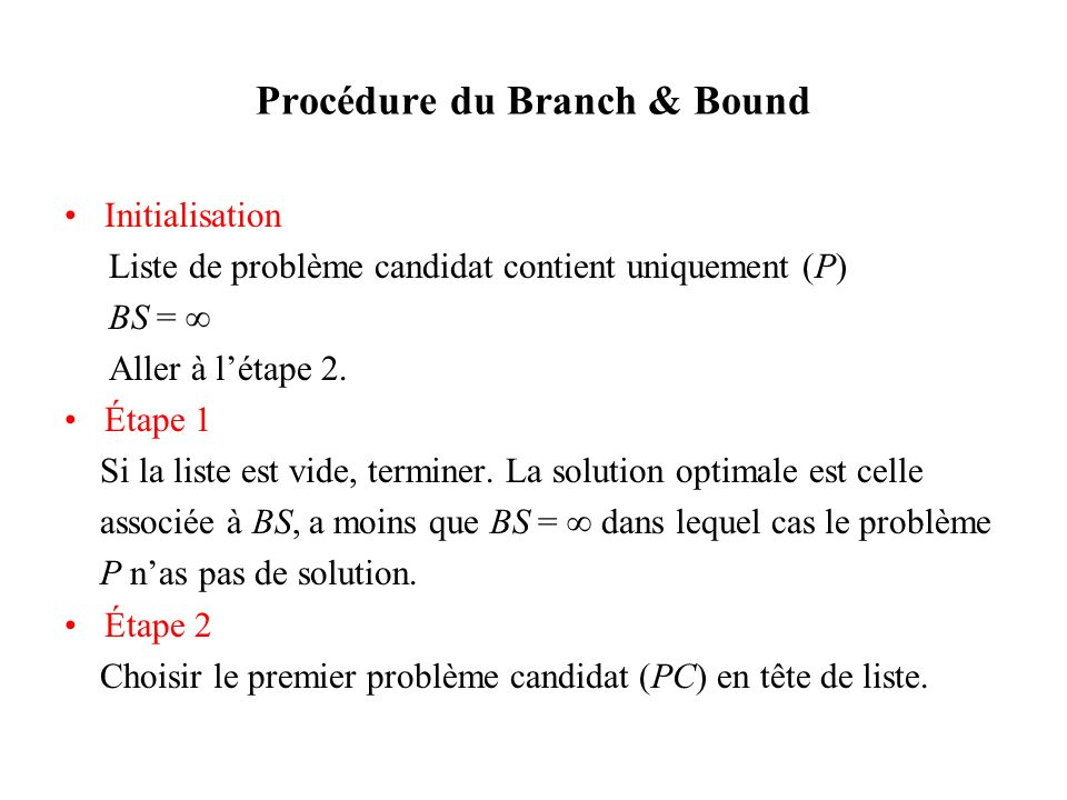 Procédure du Branch & Bound