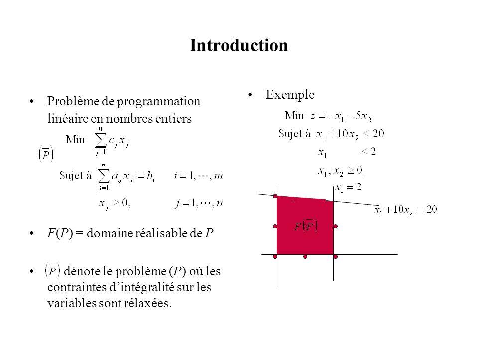 Introduction Problème de programmation linéaire en nombres entiers