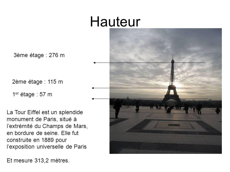 Hauteur 3ème étage : 276 m 2ème étage : 115 m 1er étage : 57 m