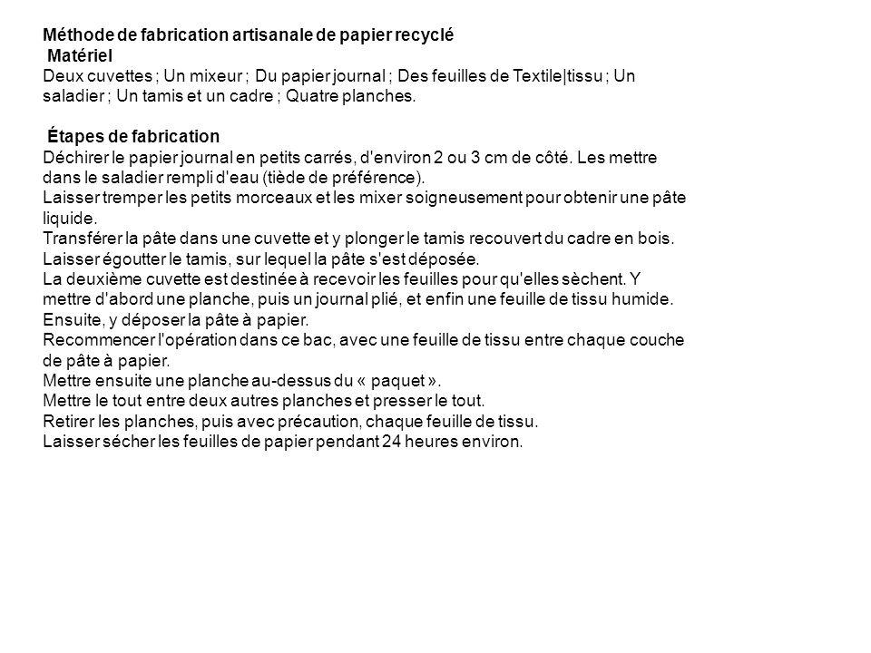 Méthode de fabrication artisanale de papier recyclé