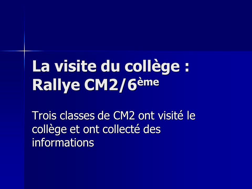 La visite du collège : Rallye CM2/6ème