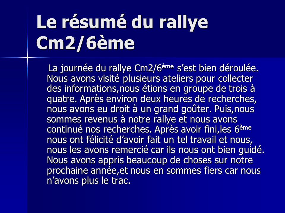 Le résumé du rallye Cm2/6ème