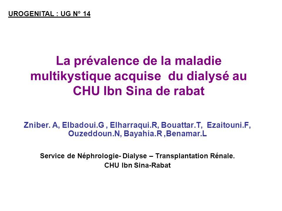 Service de Néphrologie- Dialyse – Transplantation Rénale.