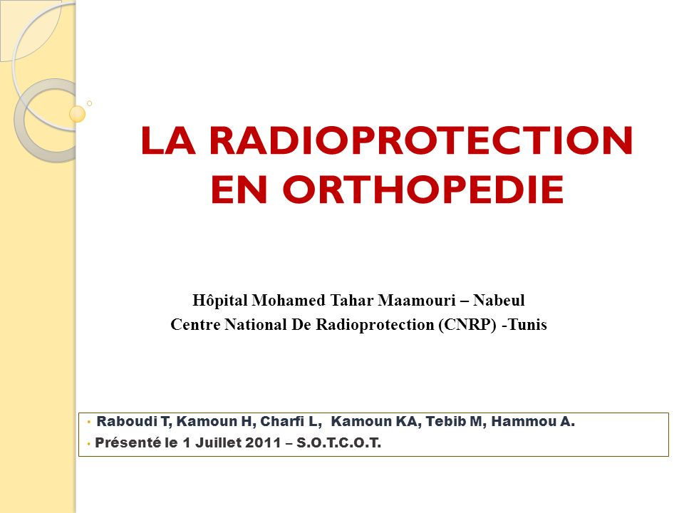 LA RADIOPROTECTION EN ORTHOPEDIE
