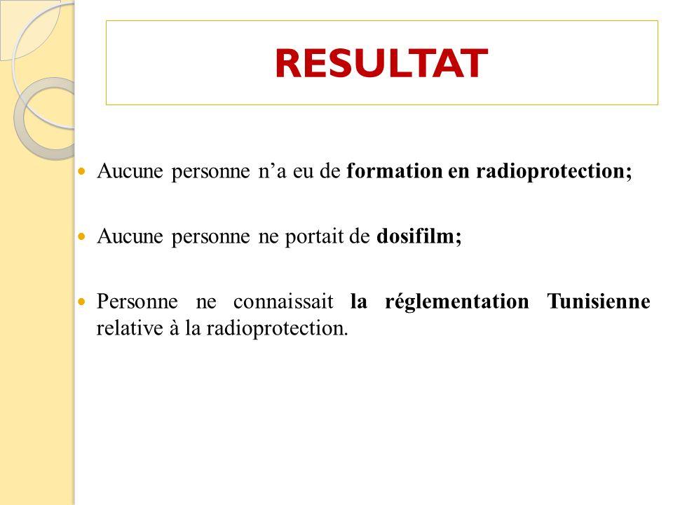 RESULTAT Aucune personne n'a eu de formation en radioprotection;