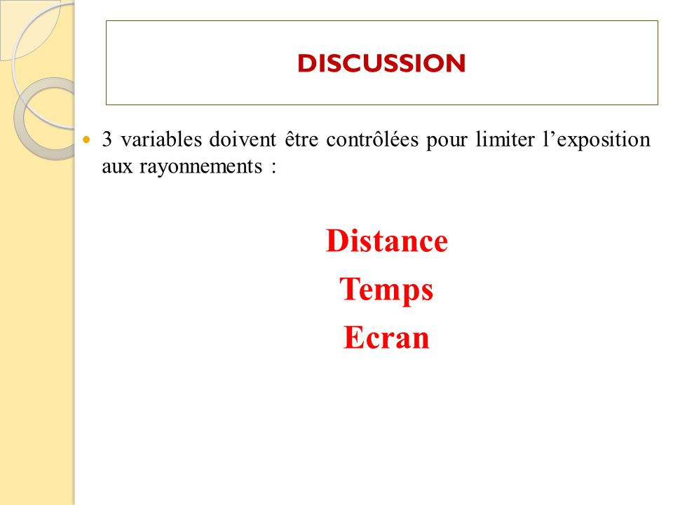 Distance Temps Ecran DISCUSSION