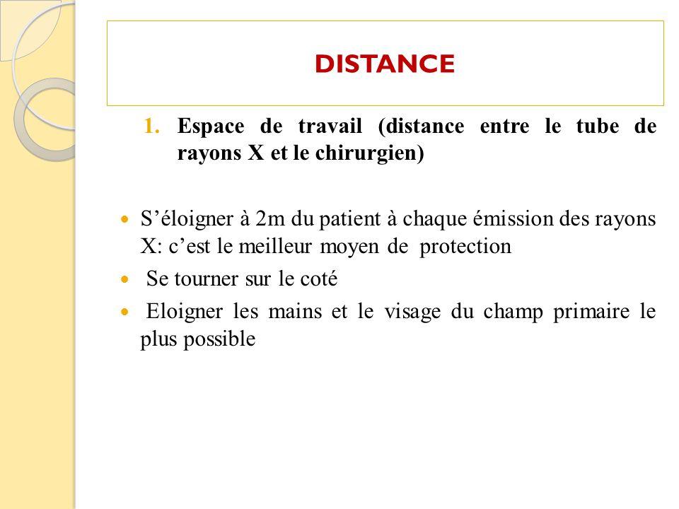DISTANCE Espace de travail (distance entre le tube de rayons X et le chirurgien)