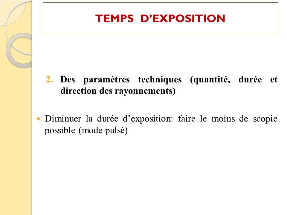 TEMPS D'EXPOSITION Des paramètres techniques (quantité, durée et direction des rayonnements)