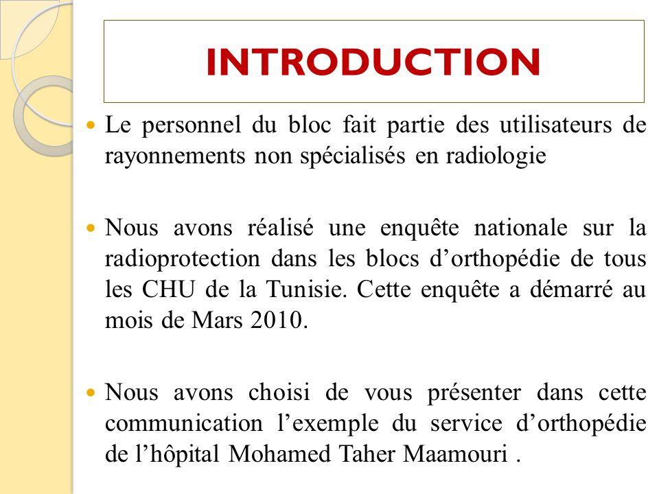 INTRODUCTION Le personnel du bloc fait partie des utilisateurs de rayonnements non spécialisés en radiologie.
