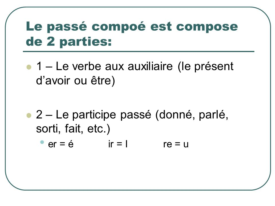 Le passé compoé est compose de 2 parties: