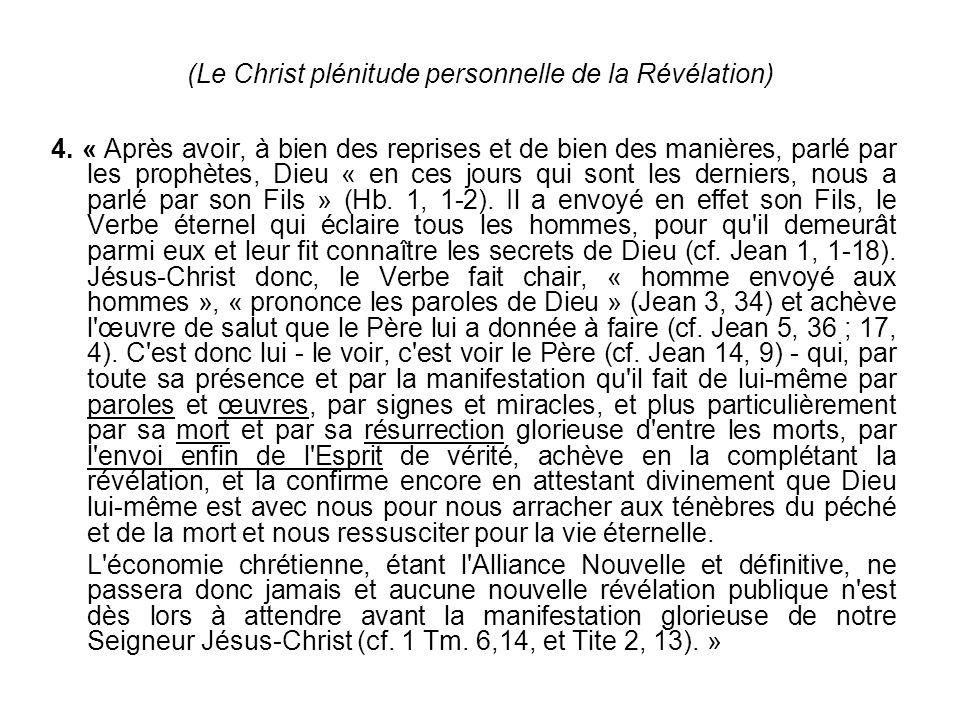 (Le Christ plénitude personnelle de la Révélation)