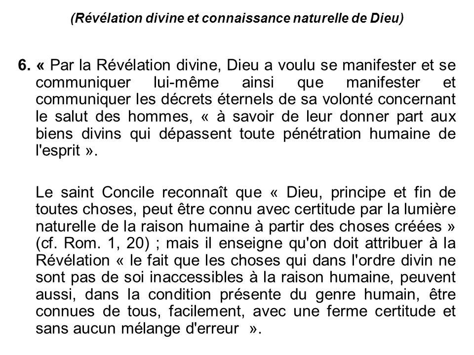 (Révélation divine et connaissance naturelle de Dieu)