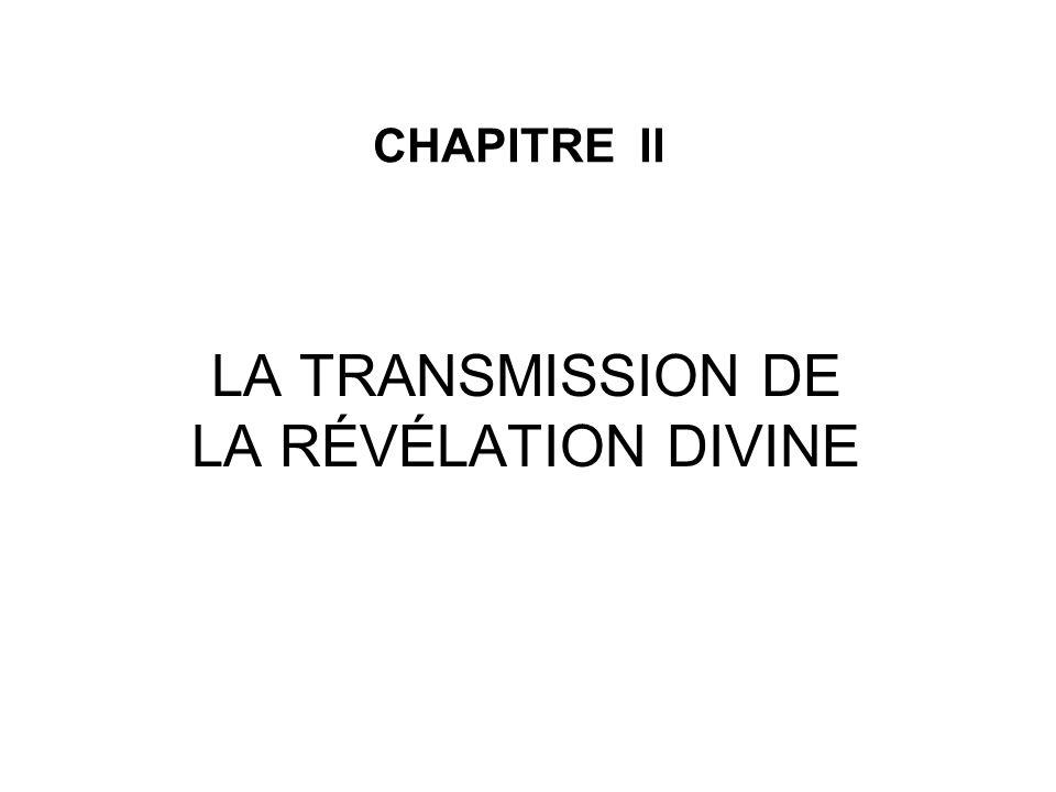 LA TRANSMISSION DE LA RÉVÉLATION DIVINE