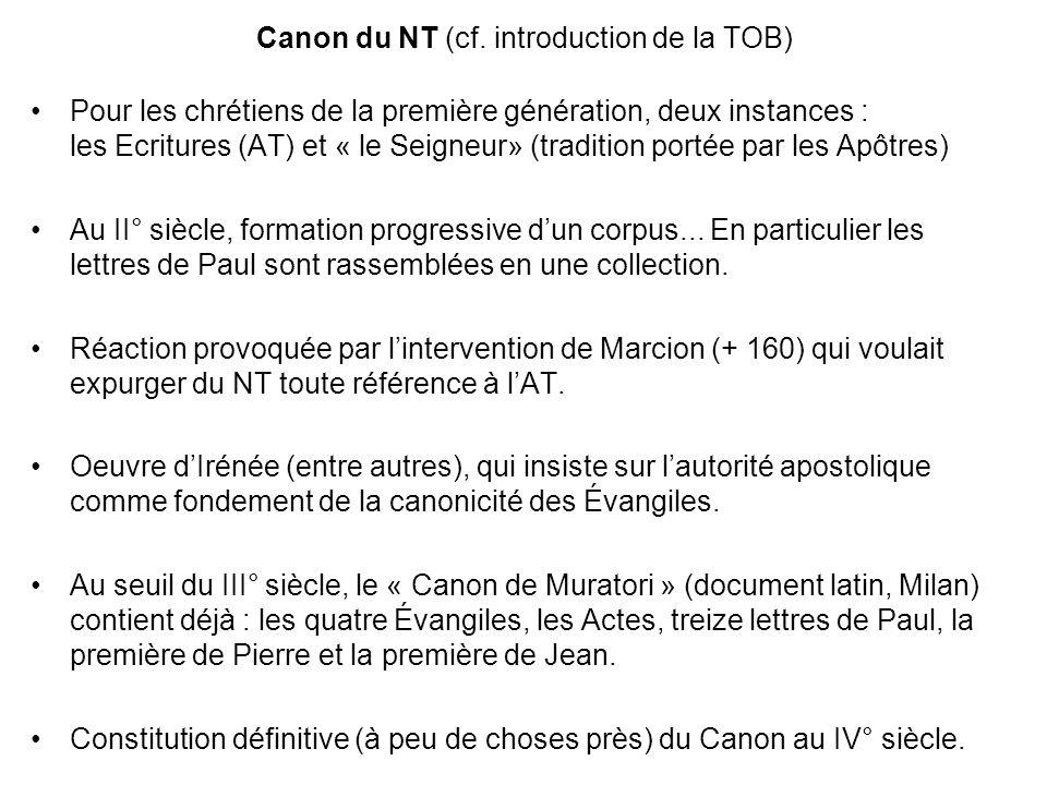 Canon du NT (cf. introduction de la TOB)