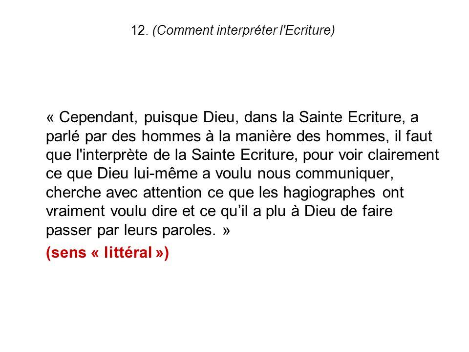 12. (Comment interpréter l Ecriture)
