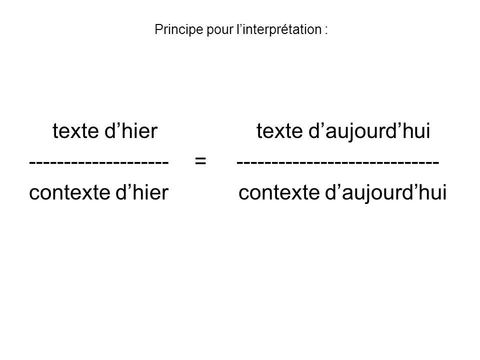 Principe pour l'interprétation :