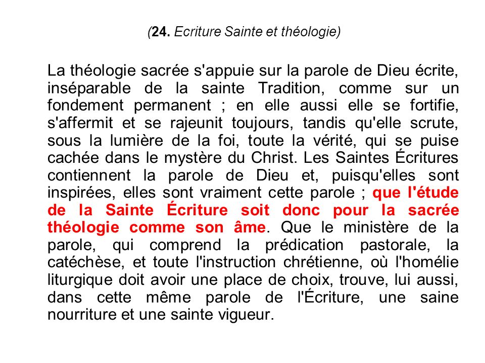 (24. Ecriture Sainte et théologie)