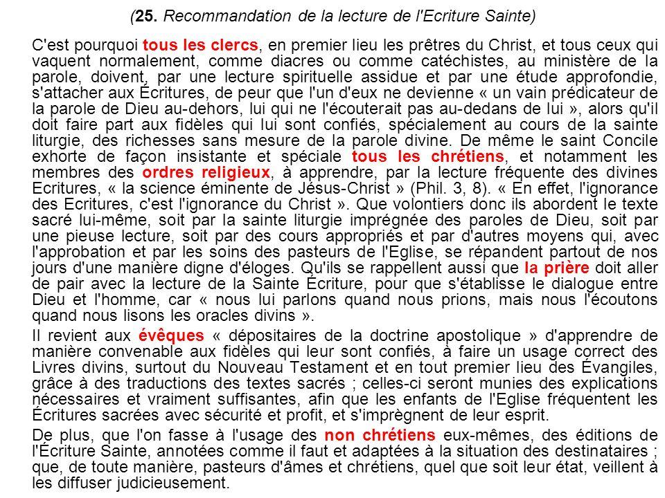 (25. Recommandation de la lecture de l Ecriture Sainte)
