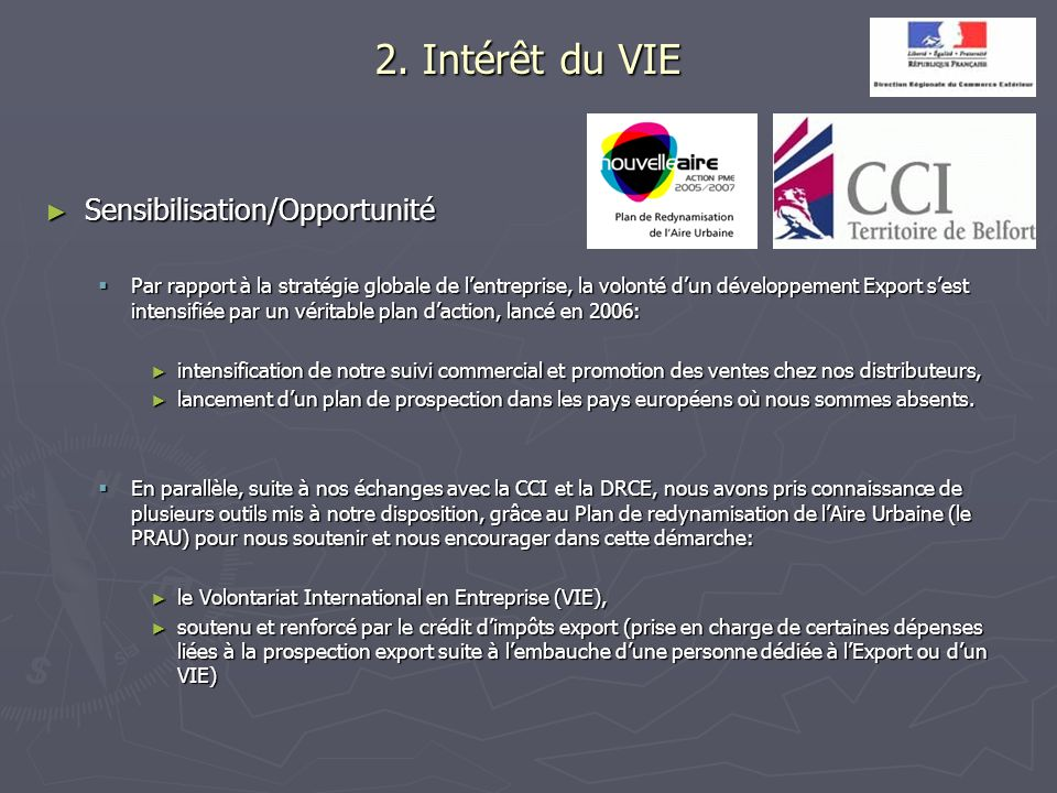 2. Intérêt du VIE Sensibilisation/Opportunité