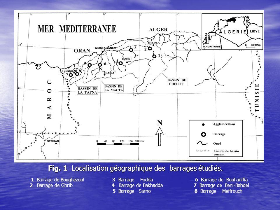 Fig. 1 Localisation géographique des barrages étudiés.