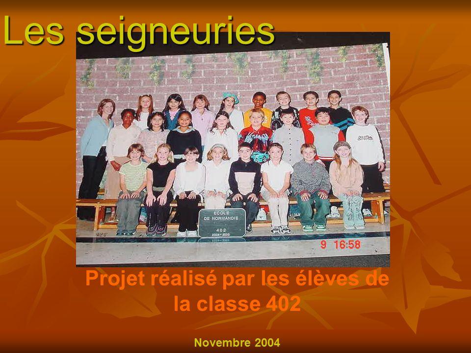 Projet réalisé par les élèves de la classe 402 Novembre 2004