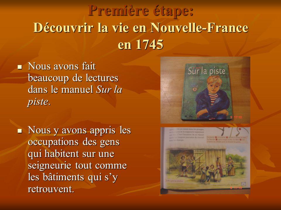 Première étape: Découvrir la vie en Nouvelle-France en 1745
