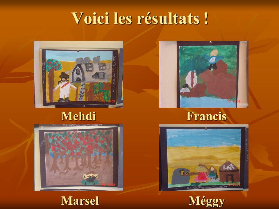 Voici les résultats ! Mehdi Francis Marsel Méggy