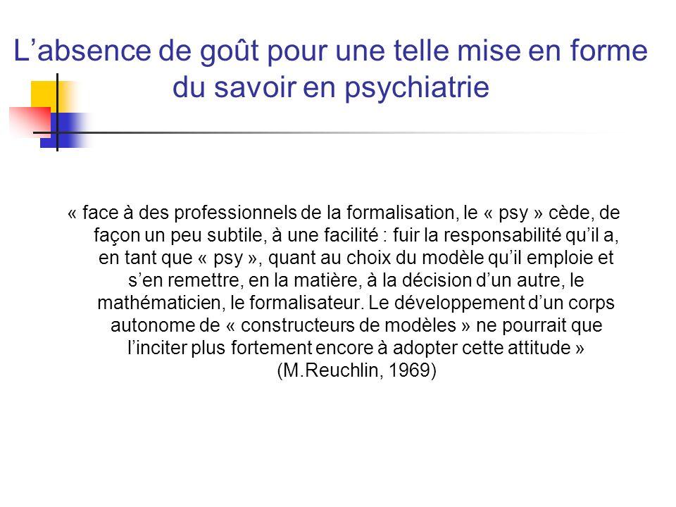 L'absence de goût pour une telle mise en forme du savoir en psychiatrie