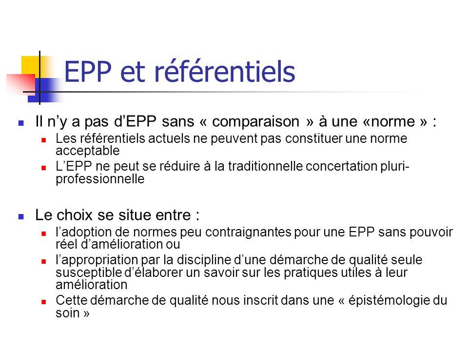 EPP et référentiels Il n'y a pas d'EPP sans « comparaison » à une «norme » : Les référentiels actuels ne peuvent pas constituer une norme acceptable.