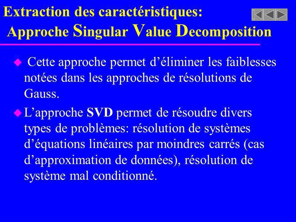 Extraction des caractéristiques: Approche Singular Value Decomposition