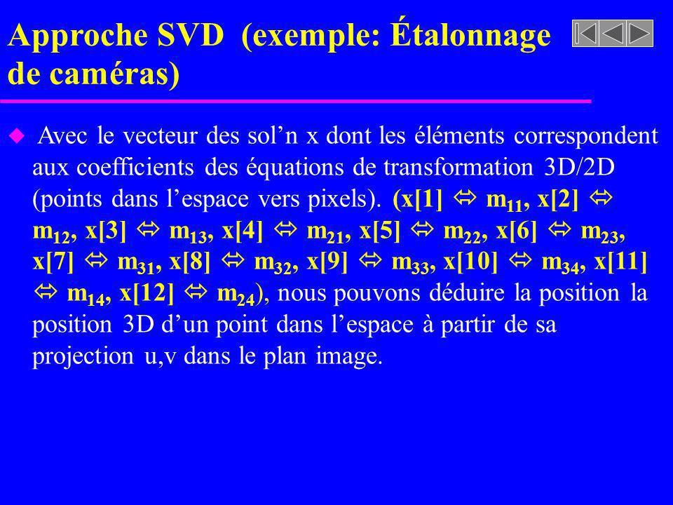 Approche SVD (exemple: Étalonnage de caméras)