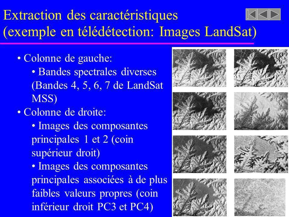 Extraction des caractéristiques (exemple en télédétection: Images LandSat)