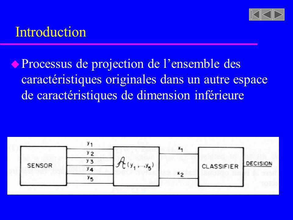 Introduction Processus de projection de l'ensemble des caractéristiques originales dans un autre espace de caractéristiques de dimension inférieure.