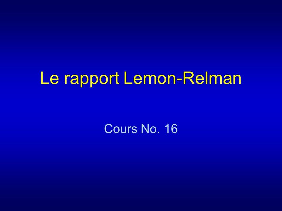 Le rapport Lemon-Relman