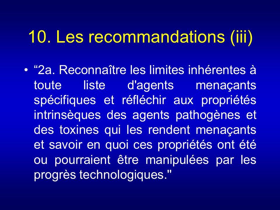 10. Les recommandations (iii)