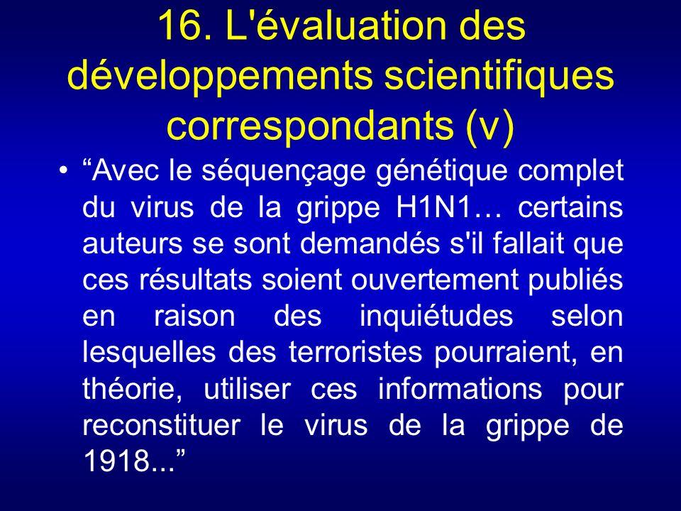 16. L évaluation des développements scientifiques correspondants (v)
