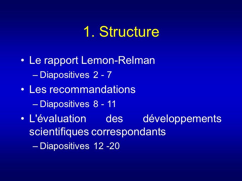 1. Structure Le rapport Lemon-Relman Les recommandations