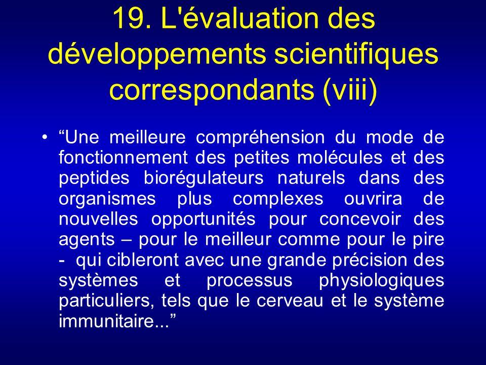 19. L évaluation des développements scientifiques correspondants (viii)