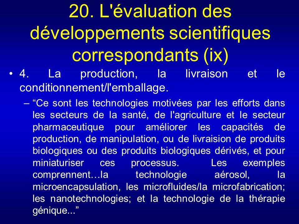 20. L évaluation des développements scientifiques correspondants (ix)
