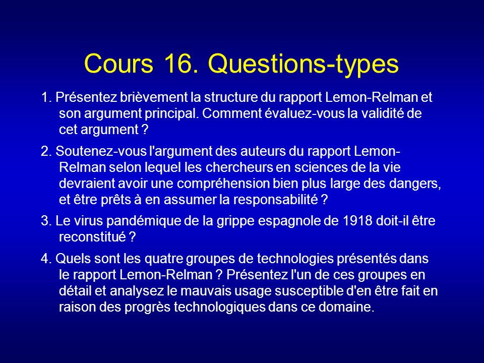 Cours 16. Questions-types