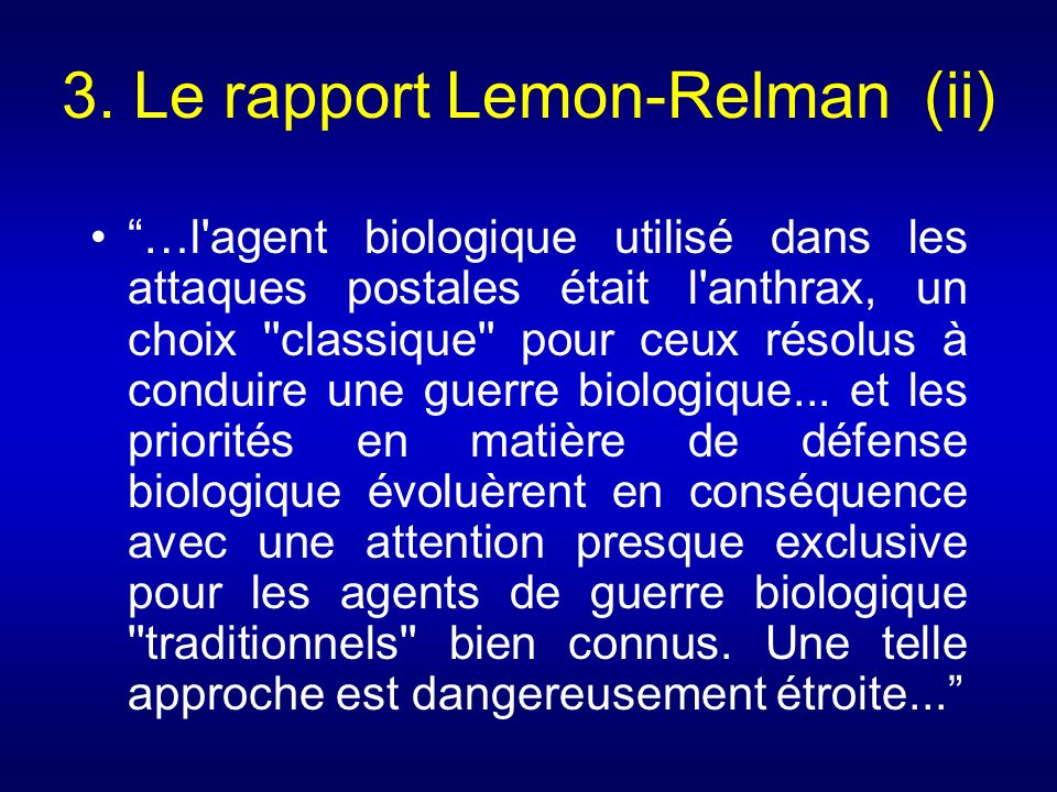 3. Le rapport Lemon-Relman (ii)