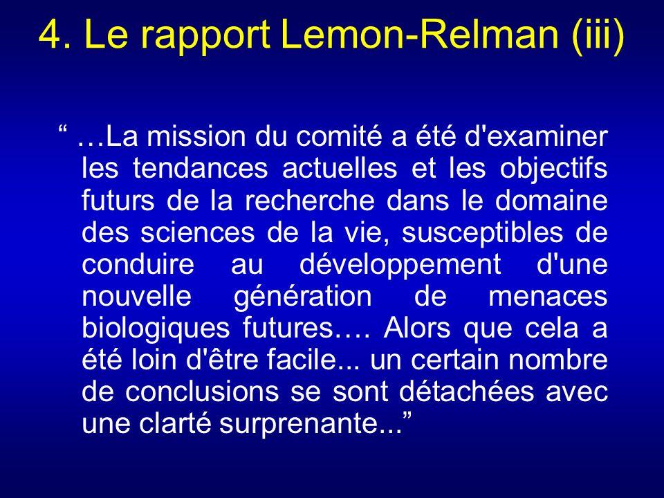 4. Le rapport Lemon-Relman (iii)