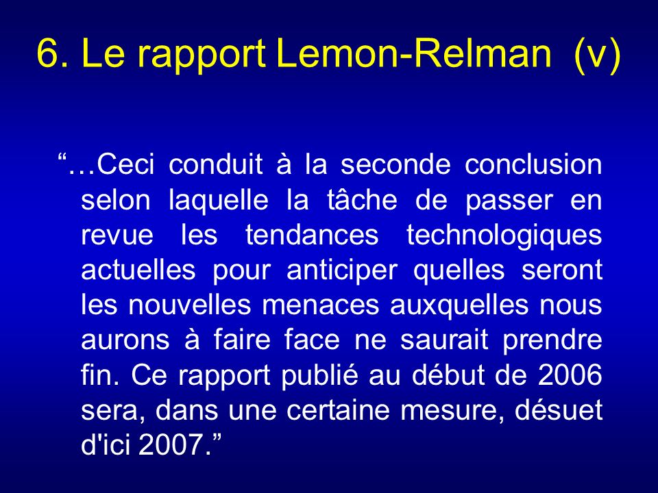 6. Le rapport Lemon-Relman (v)