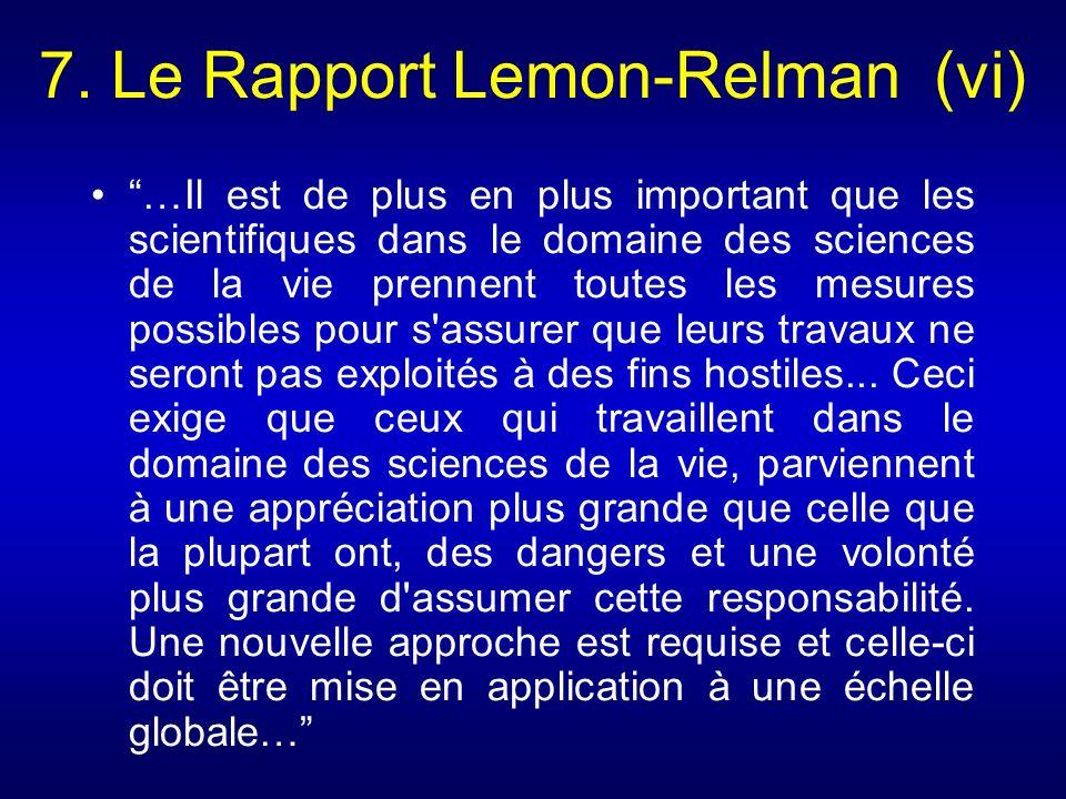 7. Le Rapport Lemon-Relman (vi)