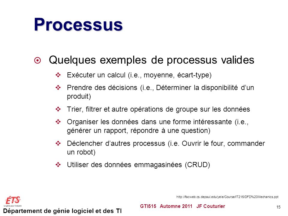Processus Quelques exemples de processus valides