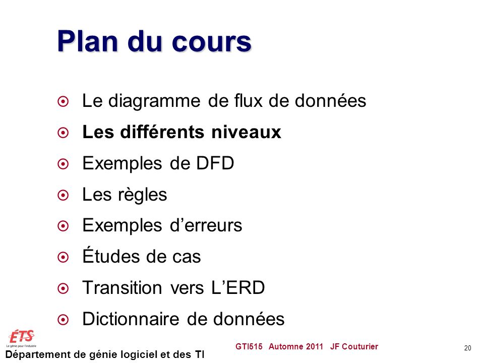 Plan du cours Le diagramme de flux de données Les différents niveaux