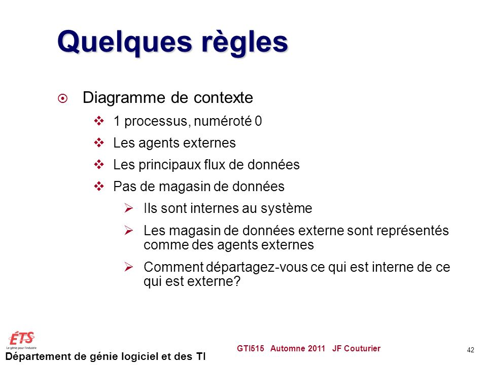 Quelques règles Diagramme de contexte 1 processus, numéroté 0